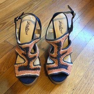 Blue and orange wedge sandals